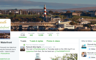 Our Plymouth Hoe Waterfront Twitter channel passes the 6,000 followers mark!